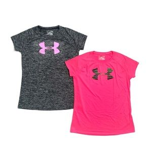 Girls Under Armor Bundle of 2 Short Sleeve Shirts
